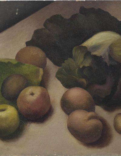 Cabbages, apples, potatoesc 1946 oil on board  14 x 18 in (35 x 46cm)