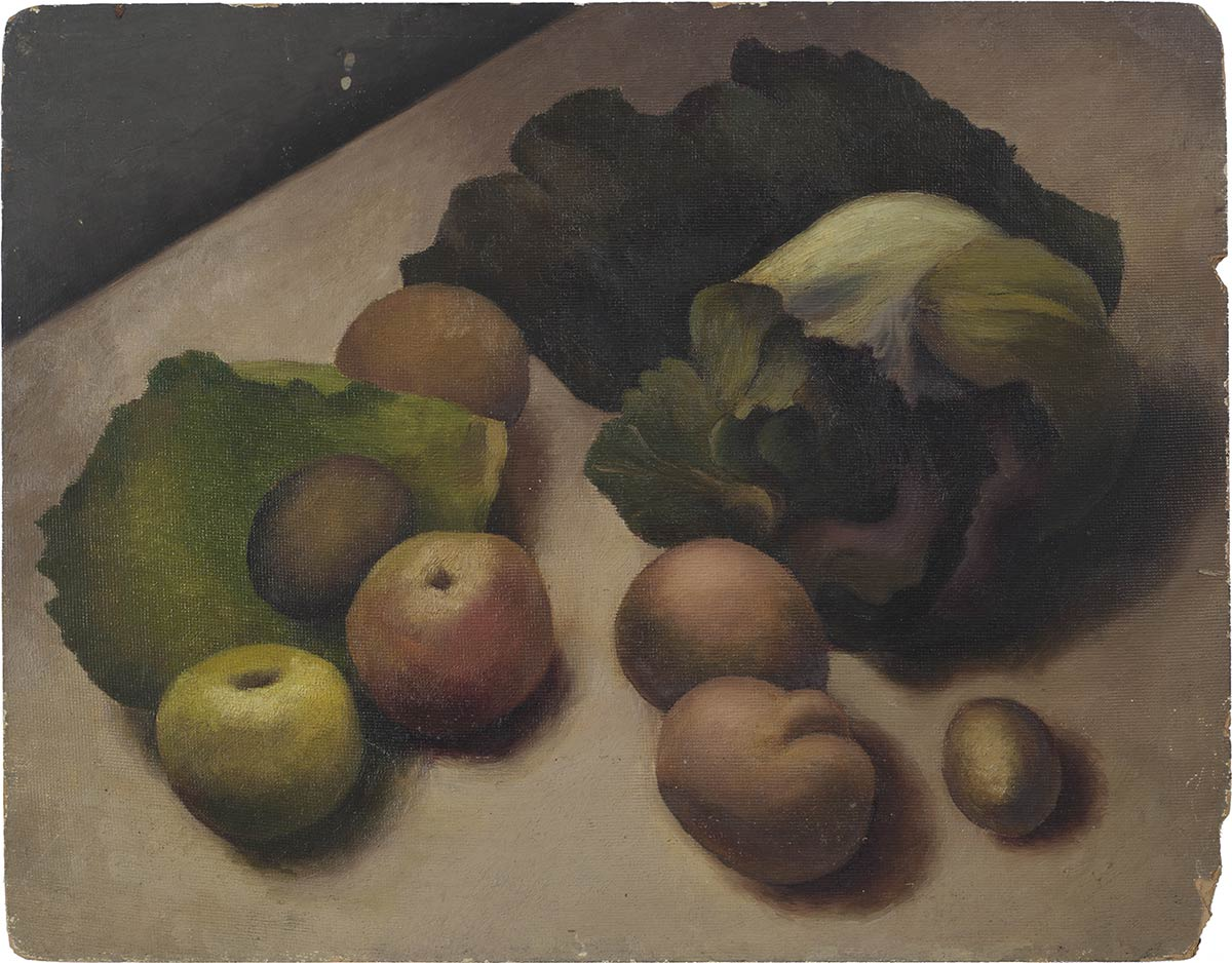 Cabbages, apples, potatoes c 1946 oil on board 14 x 18 in (35 x 46cm)
