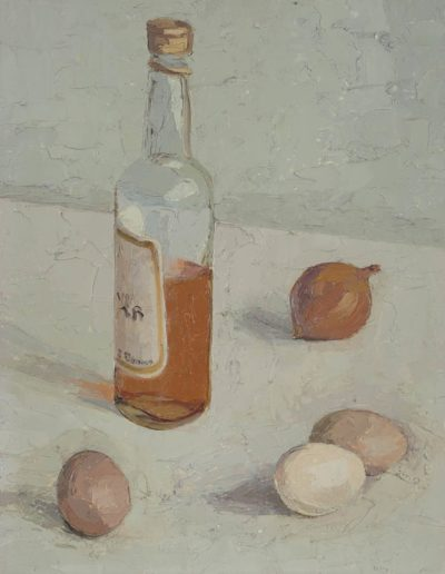 Cider vinegar, onions and eggs1974oil on canvas 16 x 12 in (46 x 31cm)