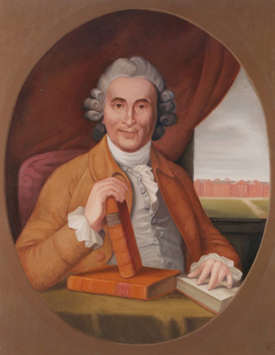 Dr James Lind1978 oil on canvas 39 x 33 in (99 x 84cm)(Copied from engraving by I. Wright of portrait painted in eighteenth century by Sir George Chalmers. The modern painting was commissioned by the Royal Navy Hospital at Haslar, Portsmouth.)