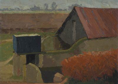 Farm buildings, Sefter  c 1969 oil on board  12   x 16 in (30 x 41cm)