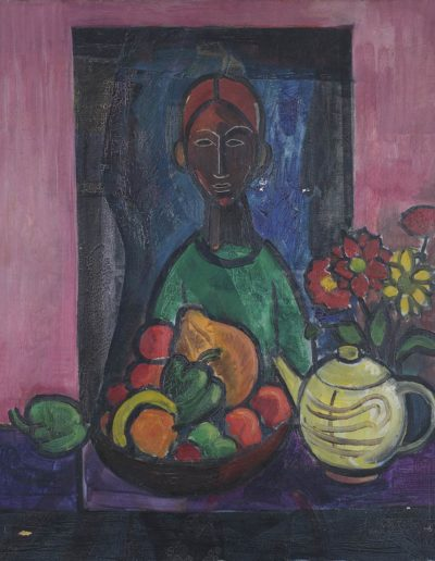 Figure, fruit bowl and tea pot   c 1947 oil on canvas24 x 20 in (61 x 51cm)