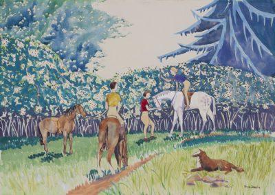 Girls picking blackberries1935 watercolour on paper 25 x 17 in (63.5 x 43cm)