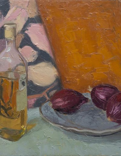 Olive oil and red onionsc 1991 oil on canvas16 x 14 in (41 x 35cm)