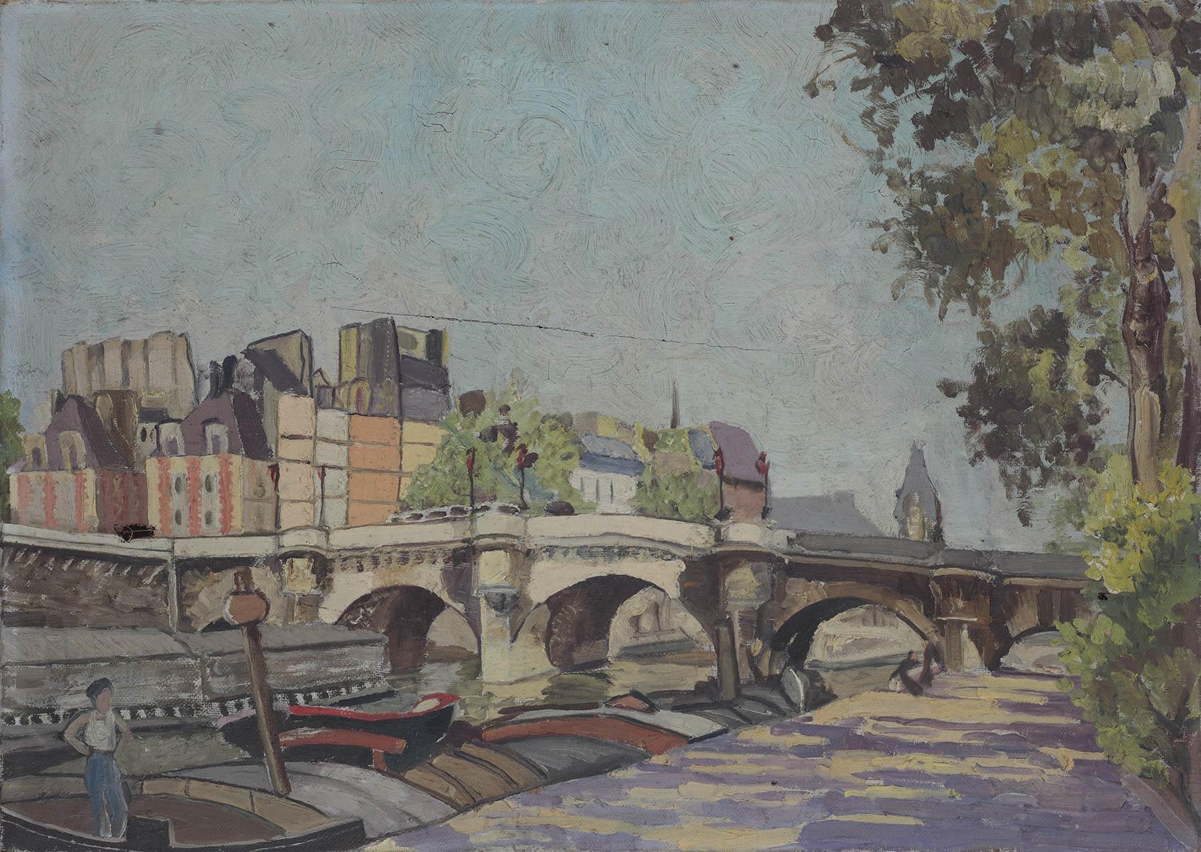 Paris bridge 1938 oil on canvas 16 x 13 in (40 x 32cm)