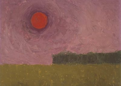 Red sun at dusk  c 1950  oil on board    18 x 14 in (41 x 35.5cm)
