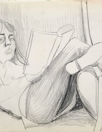 Teresa reading      c 1968pencil on paper  size unknown