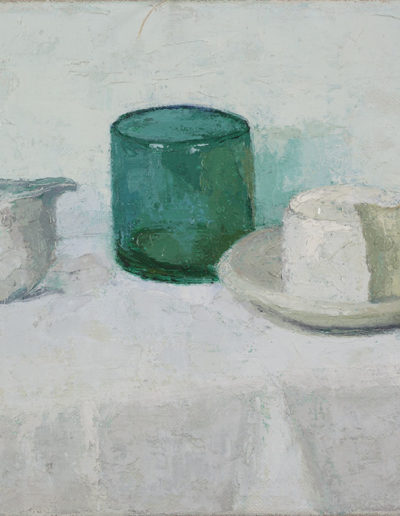 White still life with green glass and goat's cheese    c 1994 oil on canvas 18 x 14 in (46 x 36cm)
