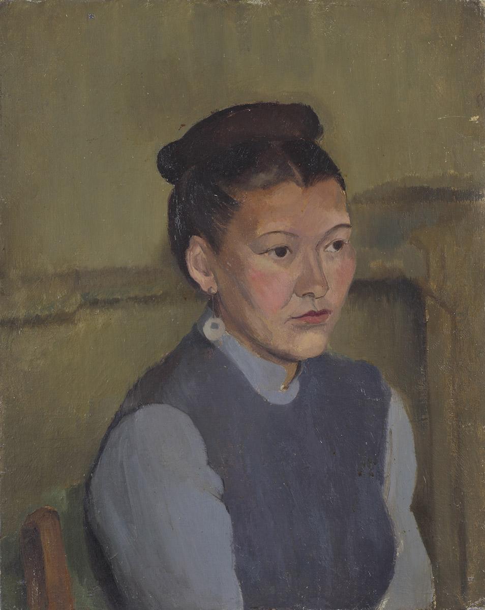 Woman with bun c 1938 oil on board 20 x 16 in (51 x 41cm)