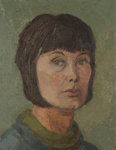 Self portrait c 1975 oil on board 16 x 12 in (41 x 30cm)