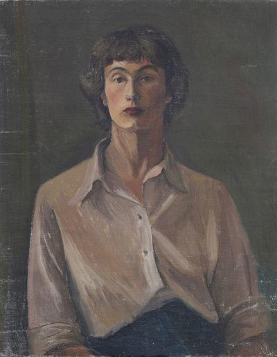 Self portrait in red headscarf, c 1946 oil on board 12 x 10 in (30 x 25 cm)