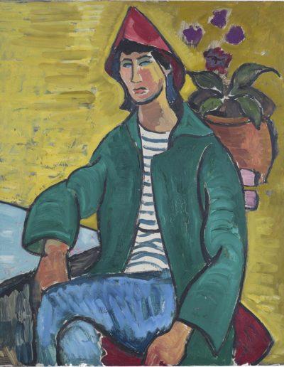 Self portrait in Red Hat c 1947 oil on board 27 x 23 in (69 x 58.5cm)