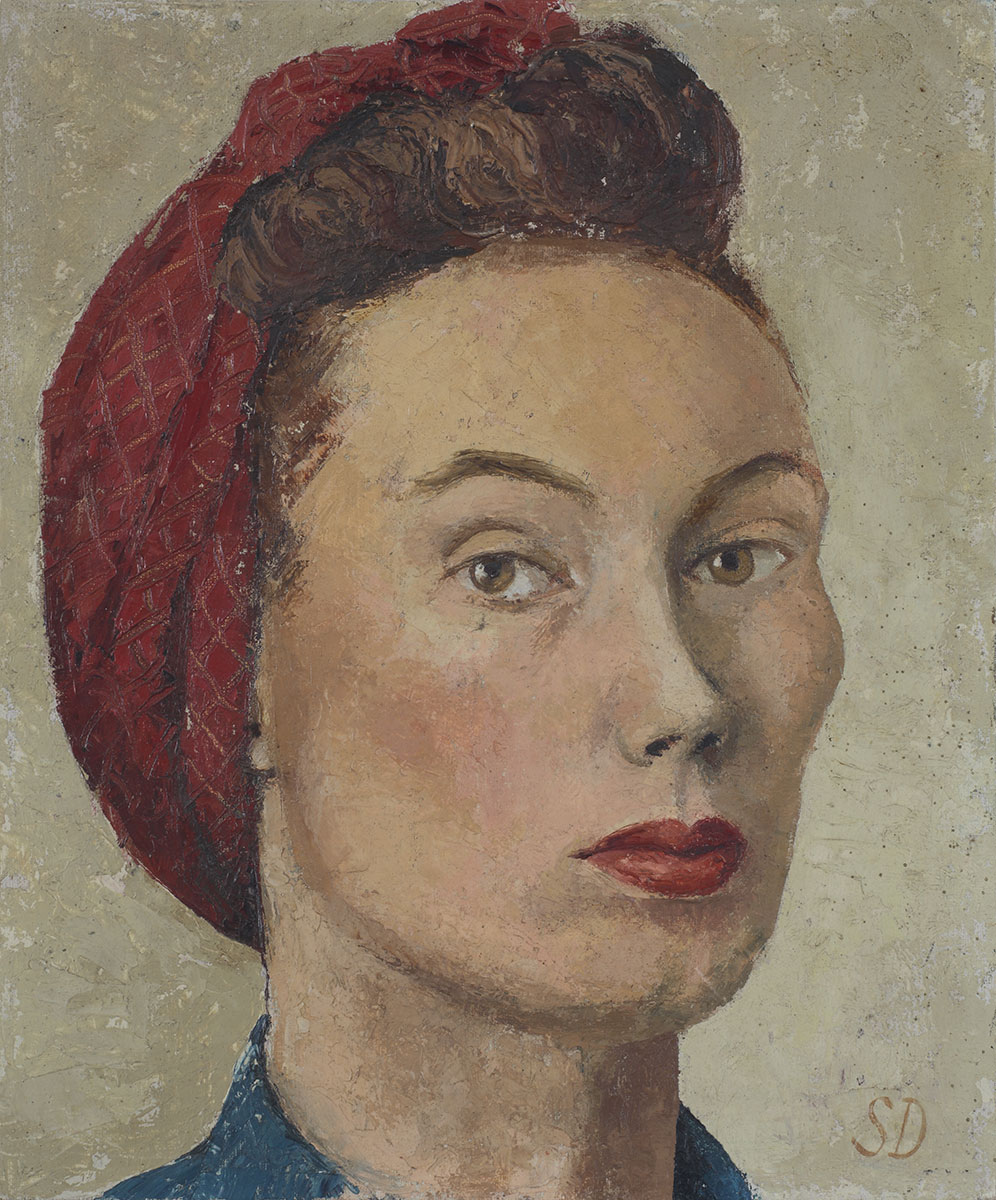 Sheila Denning - Self portrait  c. 1975 oil on board, 16 x 12 in. (41 x 30cm)