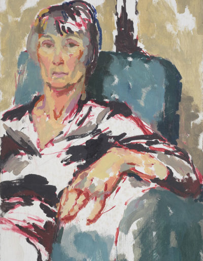 Unfinished self portrait c 1985 oil on board 25 x 14 in (63.5 x 35.5cm)