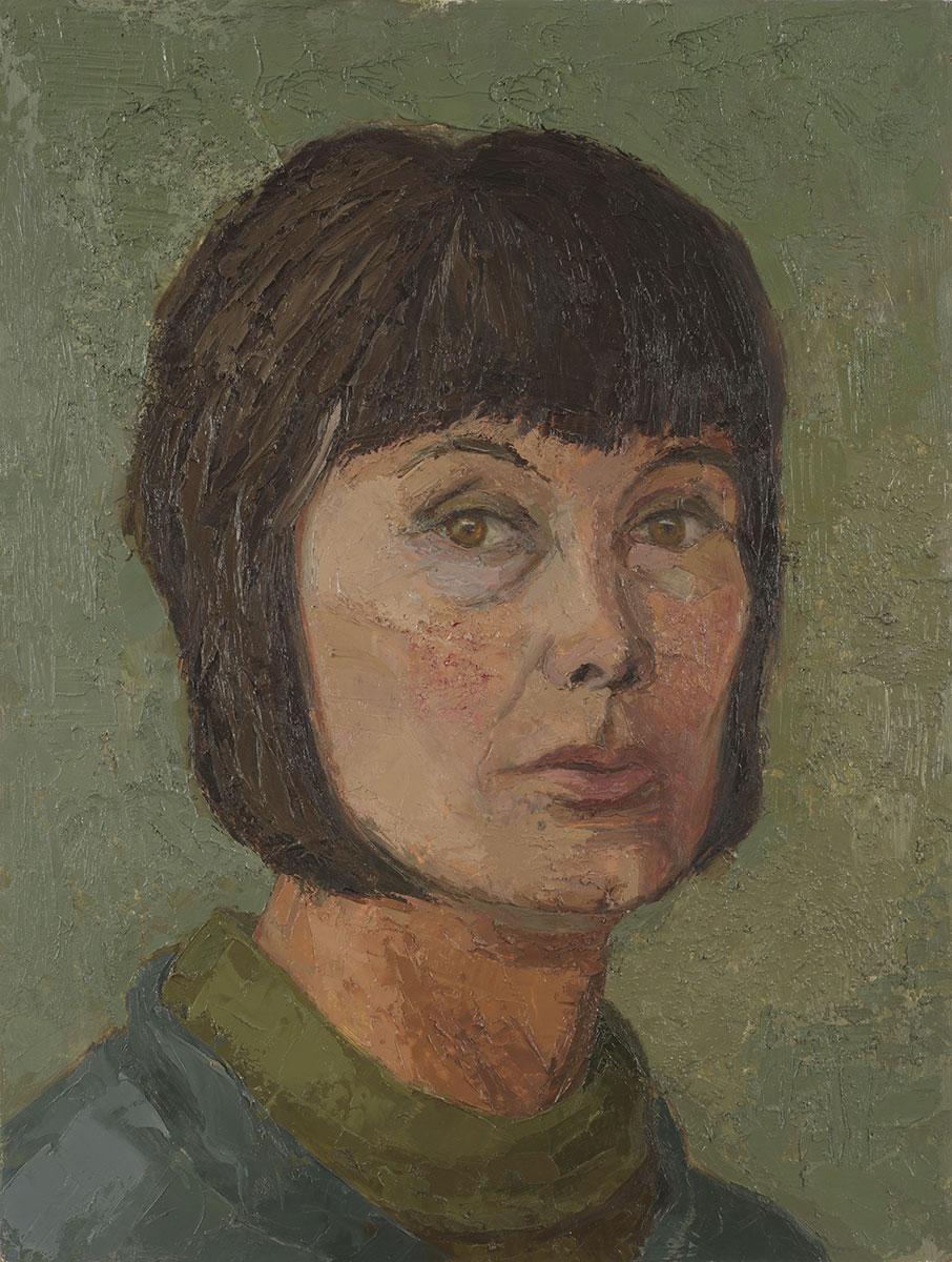 Sheila denning - Self portrait in Red Hat c 1947 oil on board 27 x 23 in (69 x 58.5cm)